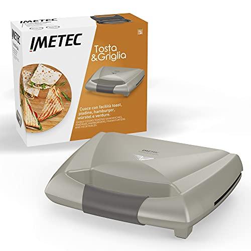 Imetec Tosta&Griglia, Tostiera elettrica, piastre XL per preparare 3 toast alla volta, compatta, riponibile in verticale, 800 W, spie di funzionamento