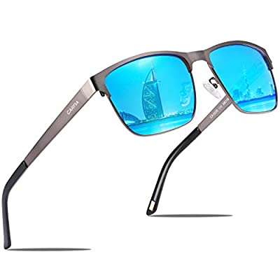CARFIA Square Metal Mens Sunglasses Polarized UV Protection for Driving Fishing Hiking Sport Sunglasses