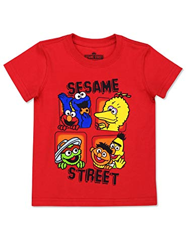 Sesame Street Gang Baby Toddler Boy's Girl's Short Sleeve T-Shirt Tee (Sesame Street Red, 4T)