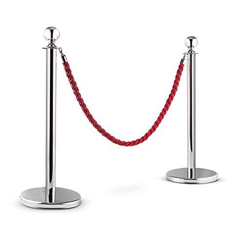 oneConcept Silver Gate - Absperrpfosten mit Kordel, Absperrung, Personenleitsystem, Durchgangssperre, 2 x Pfosten, sicherer Stand, wetterfest, rot-silber