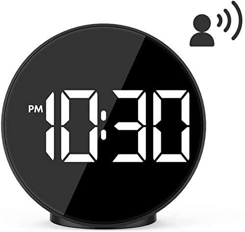HJTLK LED-Wecker Sprachsteuerung Große LED-Anzeige Digitaluhr Tischoberflächenuhren mit Schlummer-Hintergrundbeleuchtung