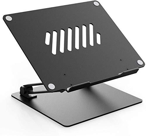 Aluminum Laptop Stand Riser for Desk, Adjustable Height Multi-Angle Laptop Riser with Heat-Vent,Portable Holder Ergonomic Elevator Riser for M'acBook Pro/S'urface Pro/H'P Envy 15 - Black
