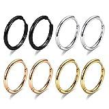 10mm Surgical Steel Hoop Earrings, 4 Pairs Hoop Earrings Men Black Gold Silver Rose Gold Huggie Earrings Set, 20G Hypoallergenic 316L Surgical Stainless Steel Earrings for Women