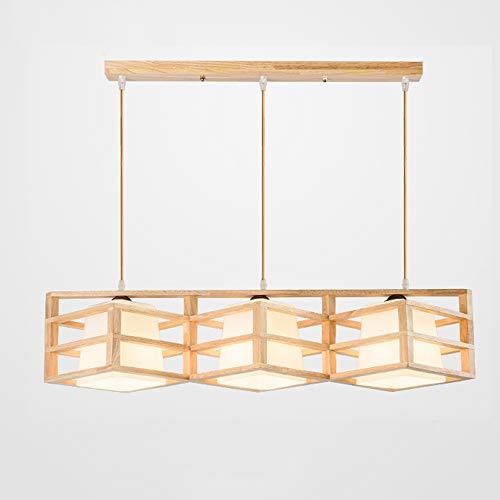 Multi-tête lustres en bois massif, minimaliste moderne LED éclairage en verre plafonnier décoratif Vintage Simple Hôtel Teahouse Table à manger Allée Pendant Light (Design : C)