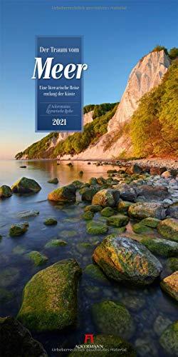 Der Traum vom Meer Kalender 2021, Wandkalender im Hochformat (33x66 cm) - Naturkalender / Literaturkalender mit Zitaten