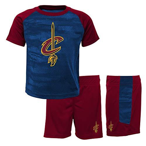 NBA Cleveland Cavaliers-Shorts and T-Shirt Set Conjunto Ropa Deportiva, Rojo (Burgundy/Navy Bny), 4 años para Niños