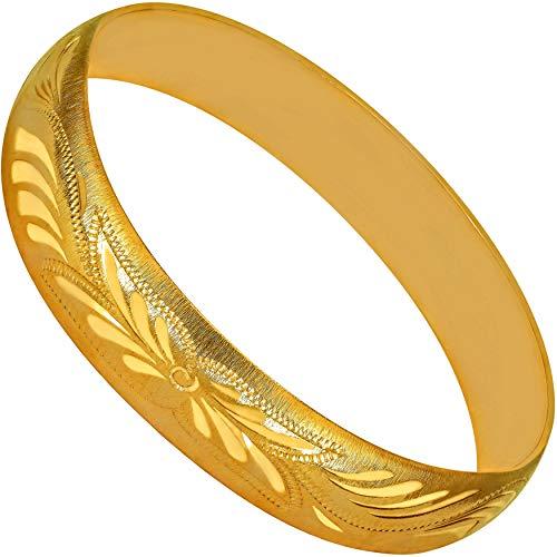 LIFETIME JEWELRY 12mm バングルブレスレット 24K 純金メッキ 女性と女の子向け ゴールド
