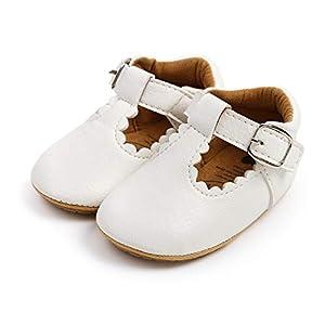 Zapatos de Bebe para bebé niño Zapato Primeros Pasos de Cuero Suave de PU para bebé para 0-18 Meses (6-12 Meses, blanco)