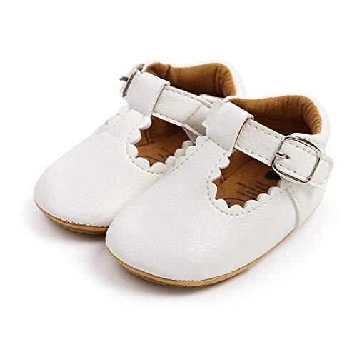 LACOFIA Zapatillas Antideslizantes para bebé niña Zapato Primeros Pasos para bebé Blanco 6-12 Meses