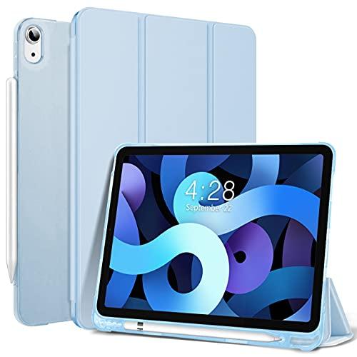 DAORANGE Hülle für iPad Air 4. Generation 10.9 Zoll 2020, Ultra Dünn Trifold Ständer Slim PU-Leder Schutzhülle mit Stifthalter und Auto Schlaf/Aufwach Funktion für iPad Air 4 10.9 2020 (Himmelblau)
