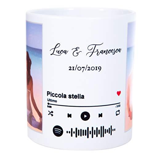 Love Spotify Code Tazza Grande personalizzata con la tua foto e il codice da inquadrare con il cellulare per ascoltare la tua canzone preferita
