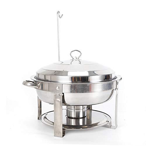YiWon CNS Chauffe-plat rond 7,5 l en acier inoxydable pour traiteur, buffet, bain-marie