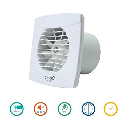 CATA 1200200 Modelo UC-10 Serie Aire | Extractor de baño silencioso | Color Blanco | Detector de Humedad Regulable, UC-100 Hygro Timer