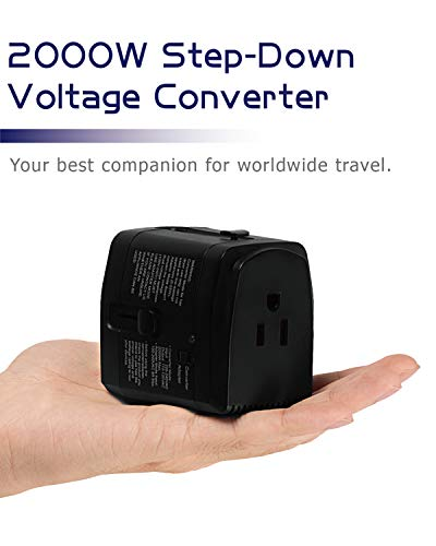 2000W Step Down Voltage Converter 220V to 110V and Universal Travel Plug Adapter...