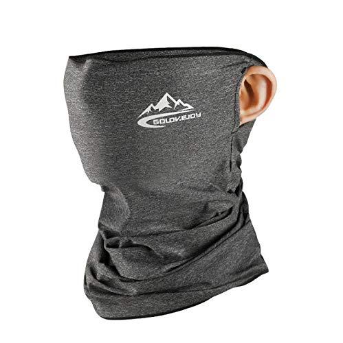 Hombasis ネックカバー UVカット ネックガード 冷感 フェイスカバー メンズ バンダナ 耳かけタイプ 日焼け防止 UPF50+ 氷感 吸汗速乾 呼吸しやすい 多機能 夏 男女兼用 (リネングレー)