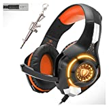 Orange Stereo Gaming Headset for PS4 Xbox One PC Controller, 3.5mm Wired Over Ear Headphones with Mic. LED Light & Memory Foam Ear Pads&Volume Control&Noise Cancelling GM-1 Kids Boys Gifts(Orange)