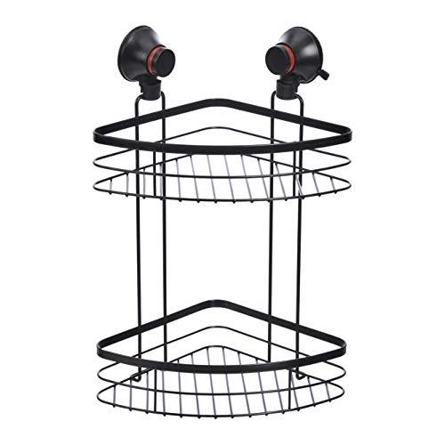 Amazon Basics - Estantería de esquina para ducha con ventosa y dos baldas