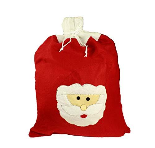HAAC Saco de Navidad con Papá Noel 70cm x 50cm Peluche Saco de Papá Noel Papá Noel Saco para Navidad Navidad