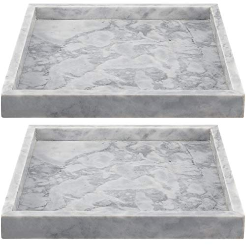 ZEONHAK 2 Pack 10 x 10 Inches Natural Marble Tray Decorative Square Marble Tray Marble Serving Tray for Coffee Table Vanity Bathroom Kitchen Dresser Jewelry