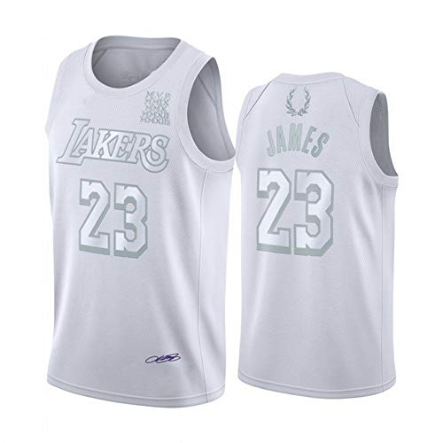 Haoshangzh55 Basketball Jerseys/L.A. Lakers # 23 Lebron James Jersey Trainingsanzug MVP-Stickerei-Version Ärmel Schnell Trocknend Weste Erwachsene,Weiß,S