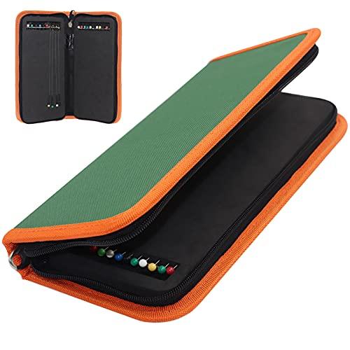 YOTO Angelzubehör Vorfach-Aufwickler-Angeltasche mit Boxen 24/10 fluorocarbon vorfach Schnuraufwickler für Vorfächer & Rigs in Depot-Case (Green)