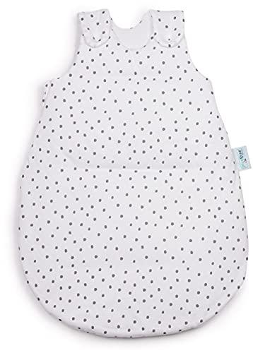 Babyschlafsack HONEY   mitwachsend & atmungsaktiv   ganzjahres Baby-Schlafsack   Stoffe ÖKO-TEX zertifiziert   vier verstellbaren Größen (Punkte-grau, 50/56)