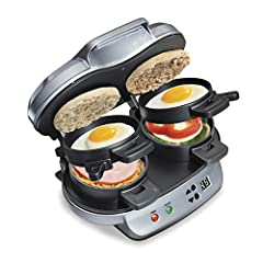 QUICK AND EASY: with 4 easy steps, This breakfast sandwich maker cooks your custom sandwich in just 5 minutes! Perfect for brunch or a quick, healthy meal on the go. TWO IS BETTER THAN ONE: dual breakfast sandwich maker is great for kids, Extra guest...