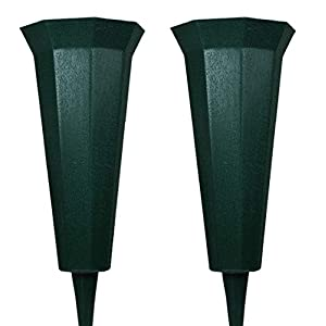 Cemetery Vase for Memorial-Grave Flowers – Durable Plastic with Spike – Easy-Fit, Just Push into The Ground – Fits Small to Large Flower Arrangements