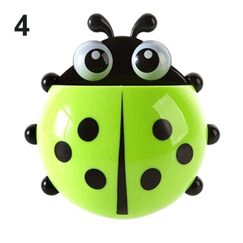 ekqw015l [Cute Ladybug Shape Toothbrush Holder Ladybug Toothbrush Holder Suction Ladybird Toothpaste Wall Sucker Bathroom Sets Wall Suction Holder for Kids Bathroom Home Decor Holders Green