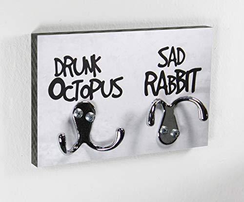 Schlüsselbrett | Drunk Octopus & Sad Rabbit | Hakenleiste | Garderobe | Flur | Schlüssel | Design | Modern | Einzug | Kreatives Geschenk | Lustig | Gegenstand mit Augen