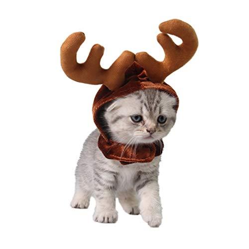 Amosfun Weihnachten Haustier Geweih Hut Rentier Geweih Hut Weihnachten Haustier Kostüm Zubehör für Welpen Kätzchen Hund Katze (Kaffee)