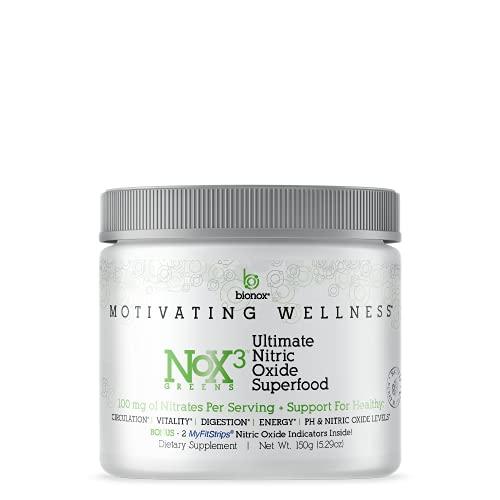 Bionox Nox3 Super Greens Powder Nitric Oxide Green Superfood Arugula, Probiotics, Moringa, Chlorella, Maca Root, Goji, Spirulina For Immune, Heart Health Great Tasting Berry Flavor 1 Month Supply