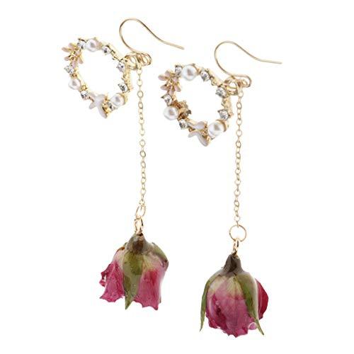 Almencla Pendientes de Botón de Flor Real Mujeres Niñas Moda Perla Colgante Gota para El Oído con Cuentas - Fushcia