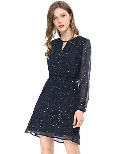 Allegra K Damen A Linie V Ausschnitt Metalic Stern Minikleid Kleid Dunkelblau XS