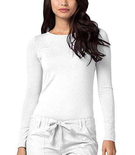 Adar Underscrubs for Women - Long Sleeve Underscrub Comfort Tee - 2900 - White - S