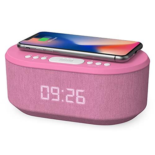 Radio Reveil Digital avec Chargement sans Fil Qi, Port de Chargement USB, Radio FM, Réveil Matin Enceinte Bluetooth, Double Alarme et Affichage à LED, Reveil Fille/Enfant (Rose)