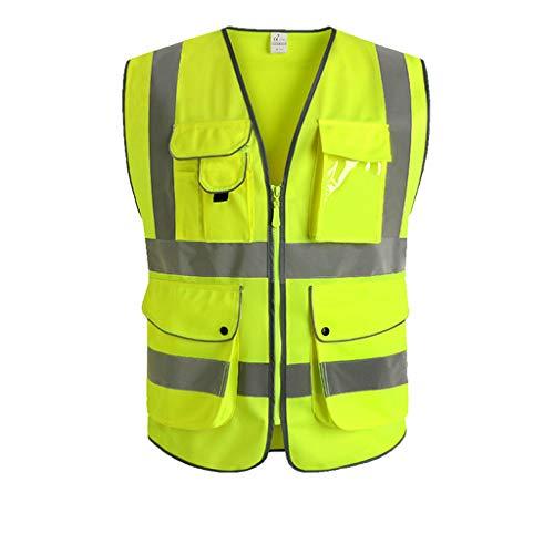 Chaleco Reflectante Seguridad Nocturna Fluorescente Ropa Protectora Construcción Tráfico Conductor Montar (Color : Yellow, tamaño : M)