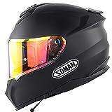Full Face Bluetooth Integrado Casco,Casco de Moto Scooter Casco Integral ECE Homologado con Doble Visera para Mujer Hombre Adultos Bluetooth Casco D,L59~60CM