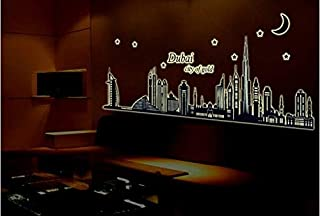 Glow In The Dark Luminous Night Dubai City Vinyl Removable Mural Home Decor Diy Wall Stickers Decal