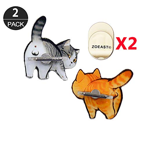 ZOEAST(TM) 2pcs Phone Ring Grip Persian Shorthair Cat Kitty Kitten Universal 360° Adjustable Holder Car Desk Hook Stand Stent Mount Kickstand Compatible with iPhone Samsung Android Tablet(Grey+Orange)