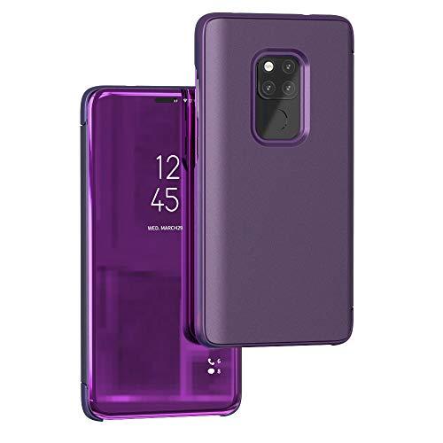Funda® Specchio Placcatura Flip Custodia per Huawei Mate 20 (Fascino Viola)