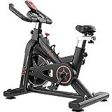Bicicleta de spinning silenciosa de fitness interior,Bicicleta estática de oficina con medidores electrónicos,Equipo de fitness ajustable,Puede soportar 150 kg ( Color : Black , Size : 106*50*116cm )