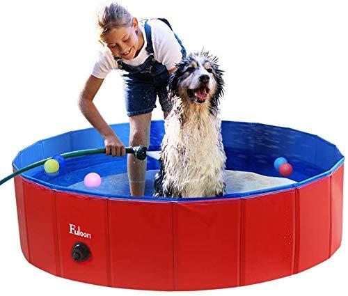 Hundepool mit Ablassventil, Faltbarer Hunde Pool Katzenpool Swimmingpool Planschbecken Schwimmbad Hundebadewanne PVC-rutschfest, Verschleißfest, Für Kinder Den Hund Katze