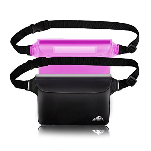 HEETA 2-Pack Waterproof Pouch, Screen Touch Sensitive Waterproof Bag with Adjustable Waist Strap - Keep Your Phone and Valuables Dry - Perfect for Swimming Diving Boating Fishing Beach, Black & Pink