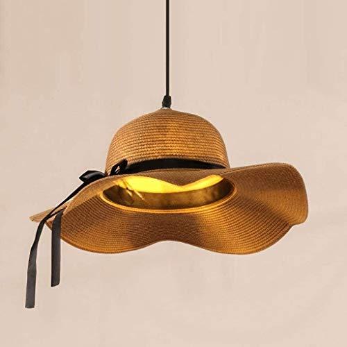 Chandelier Colgar las luces luces de la lámpara colgante de ratán, Sombrero de paja de la lámpara creativa de la luz de techo for el dormitorio restaurantes del hotel Coffee Bar decoración colgante ac