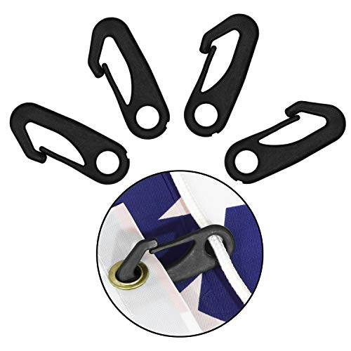 Anley 4 PCS Heavy Duty Flagpole Snap Hook Clips - Flag Pole Attachment Accessory - Attach Flag Grommets to Halyard Rope - Black