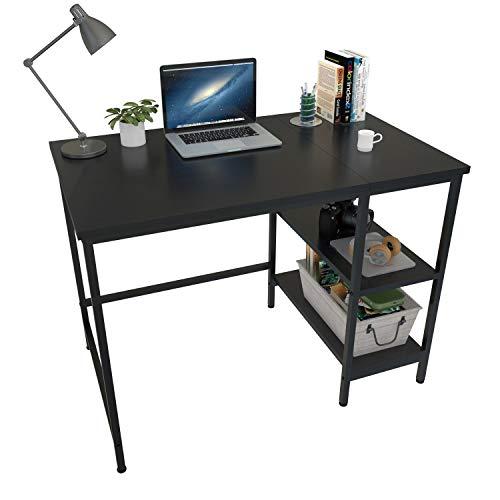 ZWGM Escritorio para ordenador de 40 pulgadas con 2 estantes de almacenamiento, marco de metal estable, tablero de madera negro