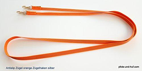 elropet Gummierte Zügel m. Zügelhaken Silber Gummizügel orange (2,40m Pony)