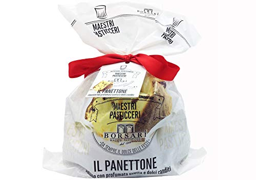 BORSARI 100% MADE IN ITALY PANETTONE Maestri Pasticceri , Classico e Autentico con Profumata Uvetta e Dolci Canditi 750gr