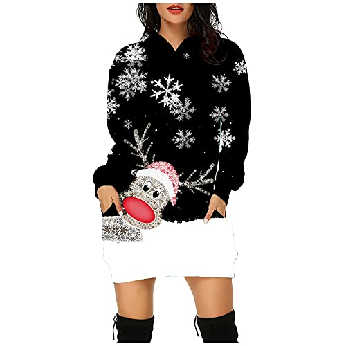 Briskorry Pulloverkleid Weihnachten Kleid Damen Minikleid Weihnachtskleid Langarm Maxikleid Weihnachtselch Rentier Elch Druck Hoodie Kleid Enge...